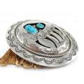 Impresionantă pafta amerindiană din argint decorată cu turcoaze naturale Kigman | Bear Paw | artizan Willbur Muskett Sr. | cca.1980