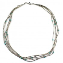 Rafinat colier amerindian din argint decorat cu turcoaze naturale Royston |  Statele Unite