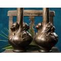 Monumentală garnitură de vaze din bronz Art Nouveau  semnate de Helene Sibeud   Franța cca.1900