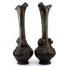 Monumentală garnitură de vaze din bronz Art Nouveau  semnate de Helene Sibeud | Franța cca.1900