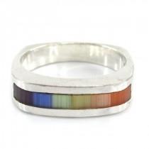 Inedit inel modernist din argint decorat cu mozaic de sidefuri naturale   Rainbow   semnat CW   Statele Unite