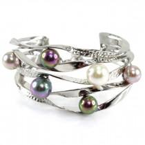 Brățară cuff din argint decorată cu perle naturale Akoya  | atelier Imperial Pearl | Marea Britanie