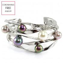 Brățară cuff din argint decorată cu perle naturale Akoya    atelier Imperial Pearl   Marea Britanie