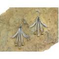 Cercei moderniști mexicani din argint cu accente aurite | manufactură de atelier Taxco | cca.1970