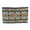 Vechi brâu lat de Banat tradițional românesc | broderie manuală cu fir de lână | cca. 1950 -1970