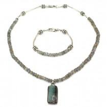 Set de bijuterii din argint cu labradorit natural | colier și brățară | Canada anii 2000