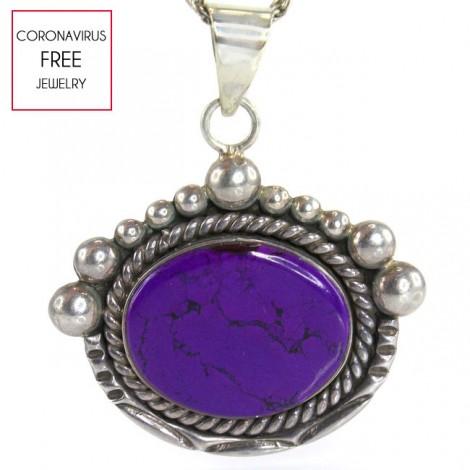 Colier accesorizat cu o veche amuletă amerindiană decorată cu un spectaculos sugilit violet   Apache Healing Stone   cca. 1960 Statele Unite