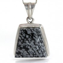 Colier din argint accesorizat cu un pandant statement decorat cu Obsidian Snowflake natural | Mexic | cca.1990