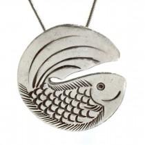 Colier cu pandant amuletă pește | argint 999 | atelier Shiana - Karen Hill Tribe | Thailanda 2006
