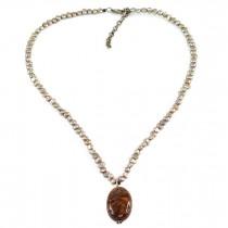 Colier de perle tahitiene decorat cu amuletă de Pietersit natural | Statele Unite