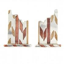 Inediți cercei statement în stil deconstructivist mid-century | argint, cupru și alamă | cca.1970