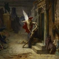 """ℹ️ Pictură """"Ciuma din Roma"""" – ulei pe pânză, autor Jules Elie Delaunay, 1869"""