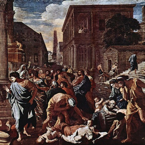 """ℹ️ Pictură ulei pe pânză """"Ciuma din Așdod"""" – Nicolas Poussin, 1630"""