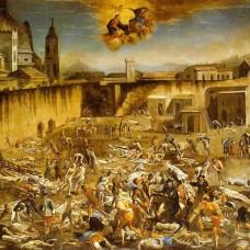 """ℹ️ Pictură ulei pe pânză """"Piața Mare în timpul ciumei din Napoli"""" – autor Domenico Gargiulo, 1656"""