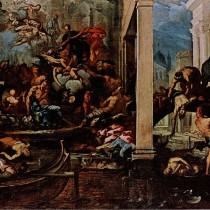 """ℹ️ Pictură ulei pe pânză – """"Fecioara arătându-se  victimelor ciumei"""", autor Antonio Zanchi, 1666"""