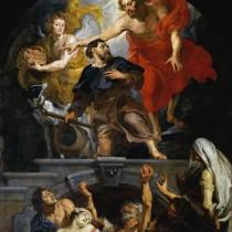 """ℹ️ """"Hristos numindu-l pe Sf. Rochus patron al victimelor ciumei"""" – autor Peter Paul Rubens, ulei pe panou, 1623 – 1626"""
