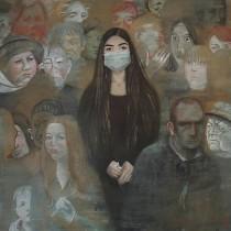 """ℹ️ """"Nu vorbi!"""" – pictură tempera pe pânză, Paulina Siniatkina, 2016"""