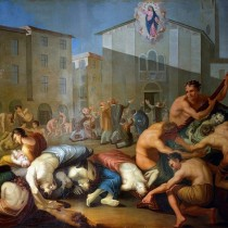 """#pandemiadecultura ℹ Frescă """"Ciuma din 1630"""" – autor Luigi Vacca, 1810"""