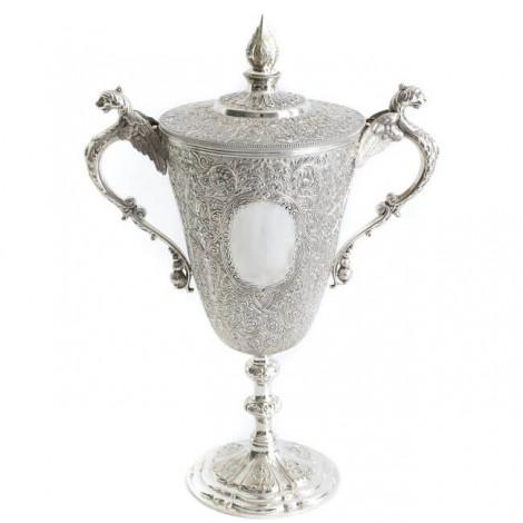 Monumentală cupă - trofeu din argint masiv   atelier James Dixon & Sons   Sheffield 1902