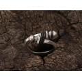 Inel modernist tuareg din argint și lemn de abanos | unisex | serie limitată