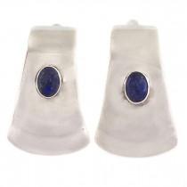 Cercei statement moderniști din argint decorat cu anturaje de lapis lazuli | Art Studio Jewelry | Statele Unite cca. 1970