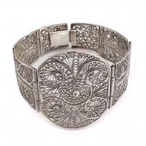 Splendidă brățară egipteană din argint filigranat manual | 1939 -1940