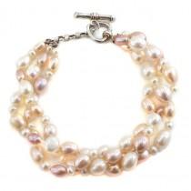 Elegantă brățară multistrand decorată cu perle Akoya | argint |  Statele Unite