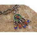 Vechi colier etnic Kabyle din argint emailat, decorat cu anturaje de coral natural   Algeria