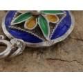 Rafinată brățară etnică berberă manufacturată în argint emailat   import colonial francez