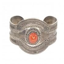 Veche brățară Ottoman Revival din argint decorat prin filigranare manuală | agat carnelian Kabdi | Turcia cca. 1940 -1950