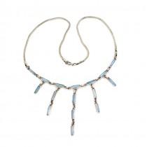 Rafinat colier cinetic modernist din argint decorat cu sidef albastru natural | manufactură în argint | Franța