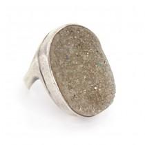 Opulent inel statement mid-century din argint decorat cu Piatra Lunii - Druzy MoonStone | Statele Unite | cca. 1960