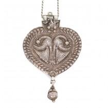 Colier accesorizat cu o veche amuletă hindusă YONI | manufactură în argint | cca. 1900 India