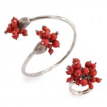 Set de bijuterii moderniste compus din brățară și inel statement | argint & coral natural | Italia cca.1980