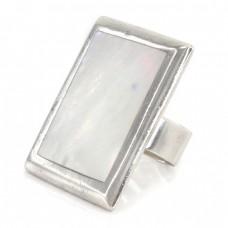 Impresionant inel statement modernist din argint decorat cu sidef natural | Franța cca. 1990