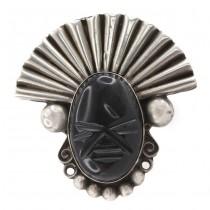 Broșă statement mid-century mexicană Aztec Warrior | argint & obsidian Gold Sheen | design Hector Aguilar cca.1960