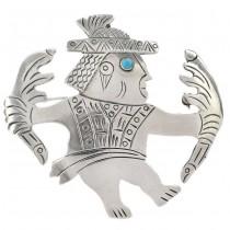 Broșă-pandant statement ilustrând un șaman aztec | argint & turcoaz natural | Mexic cca. 1980