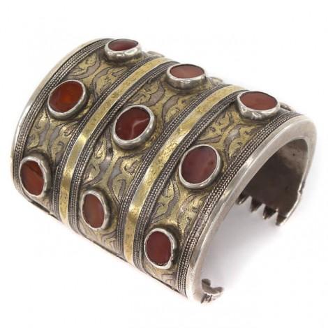 Impresionantă brățară tribală turkmenă | Bilezik | manufactură în argint & carnelian natural | cca 1900