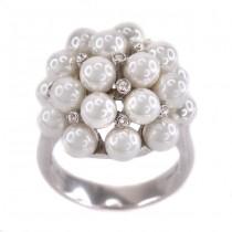Elegant inel cocktail decorat cu suprebe perle de Mallorca și cristale multifațetate | atelier Airoldi | Italia anii 2000