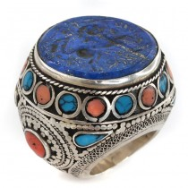 Impresionant inel etnic pashtun decorat cu sigiliu persan de perioadă Qajar | manufactură în argint și pietre naturale | Iran cca 1900