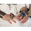 Opulent inel etnic kuchi decorat cu turcoaz persan, email și sticlă suflată   manufactură în argint   Iran cca 1900