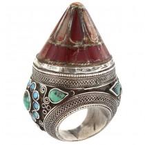 Opulent inel etnic kuchi decorat cu turcoaz persan, email și sticlă suflată | manufactură în argint | Iran cca 1900