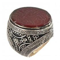 Impresionant inel etnic afgan decorat cu agat carnelian gravat manual cu mărturia Shahada | manufactură în argint