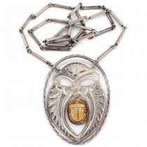 Vechi colier statement egiptean | manufactură în argint & ceramică patinată | cca.1950