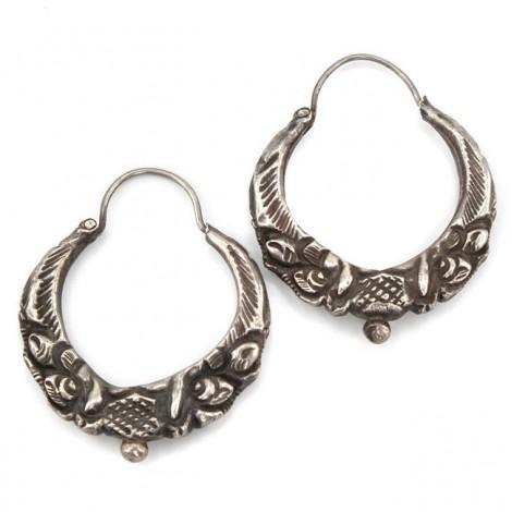 Vechi cercei etnici sino-tibetani Marwari | manufactură în argint | Kathmandu -Nepal