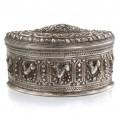 Splendidă cutie ceremonială cambodgiană din argint   manufactură de artizan khmer datând de la începutul secolului XX