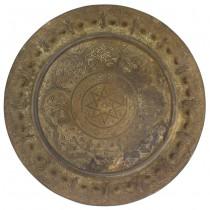 Vechi platou marocan din bronz decorat central cu sigiliul profeților | prima jumătate a secolului XX