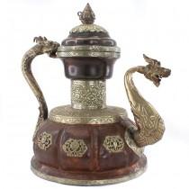 Impresionant ceainic ritualic sino-tibetan   metaloplastie în cupru și alamă argintată   Myanmar