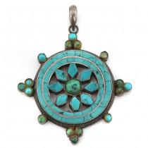 Veche amuletă tibetană Dharmachakra | manufactură în argint & turcoaze naturale himalayene | Nepal