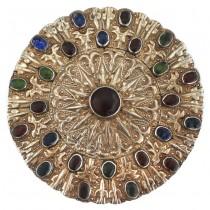 Impresionantă amuletă pectorală turkmenă Gulyaka | argint aurit & sticlă suflată manual | cca. 1900